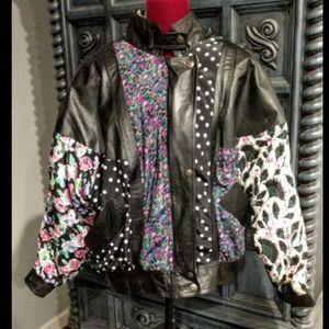 Vintage Clipper Bay Floral Leather Jacket